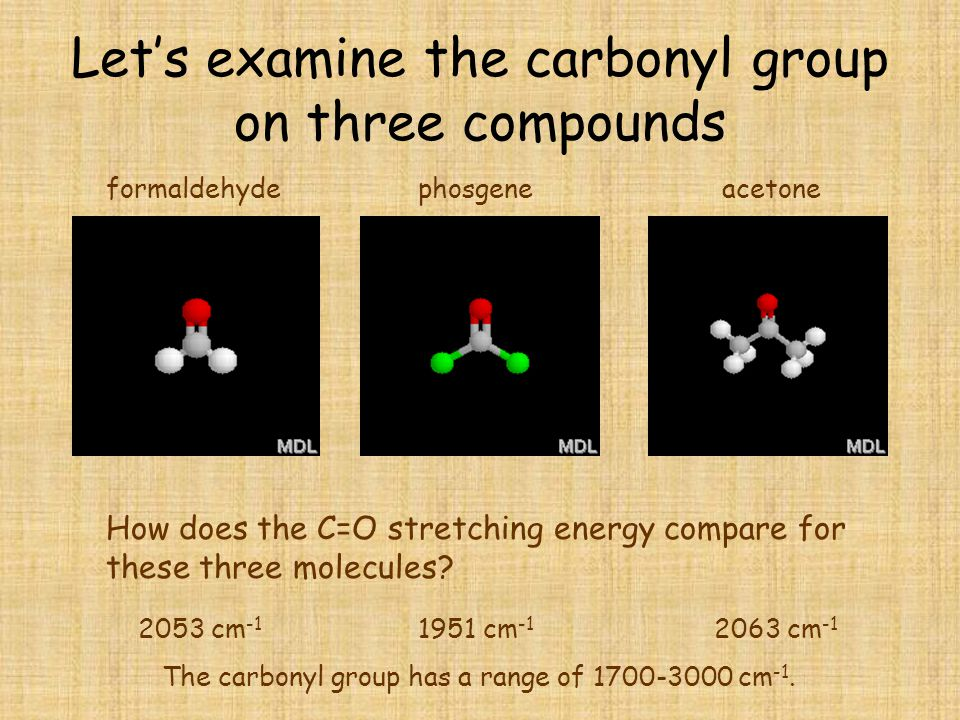 Let's examine the carbonyl group on three compounds