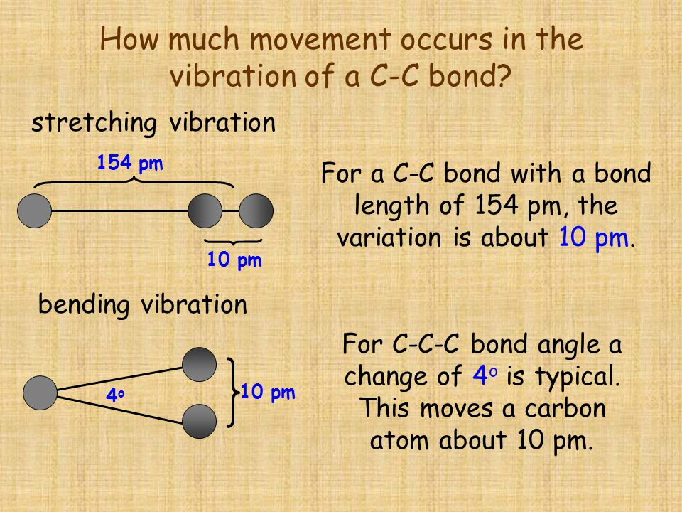 How much movement occurs in the vibration of a C-C bond