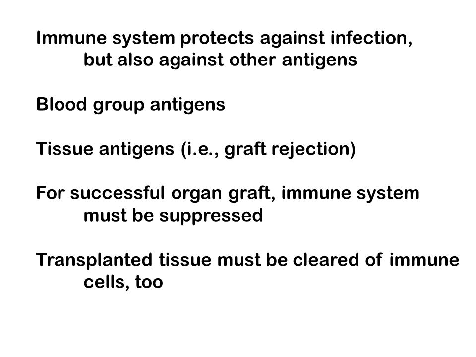 Immune system protects against infection,