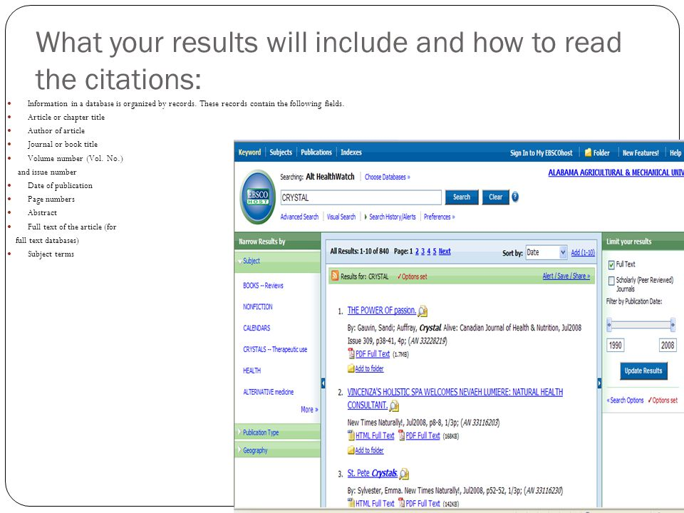 What your results will include and how to read the citations: