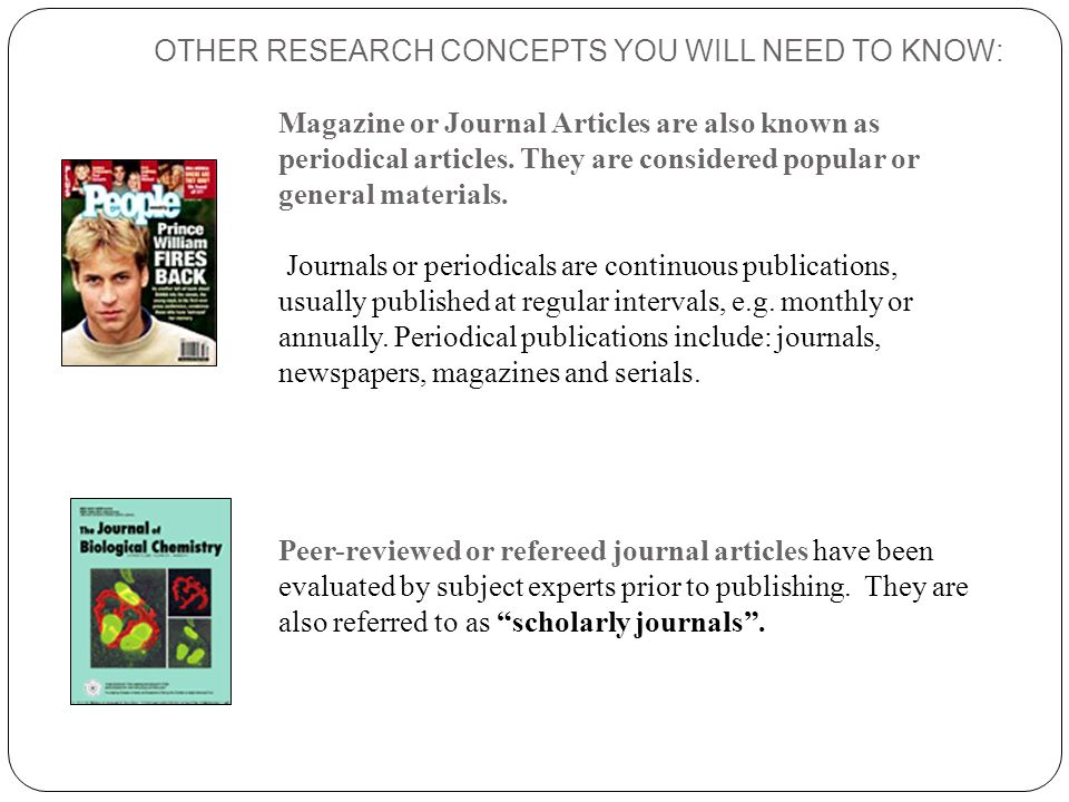 OTHER RESEARCH CONCEPTS YOU WILL NEED TO KNOW: