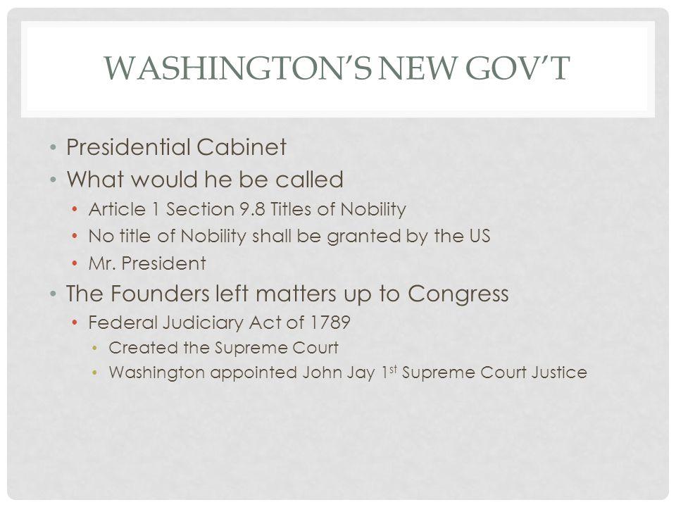 Washington's new gov't
