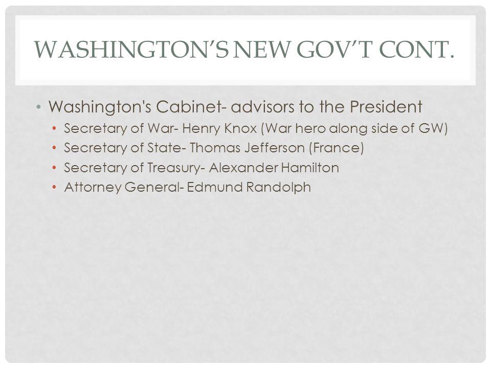 Washington's new gov't cont.