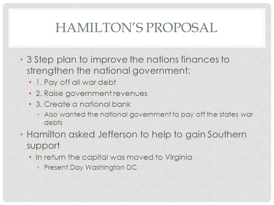 Hamilton's Proposal 3 Step plan to improve the nations finances to strengthen the national government: