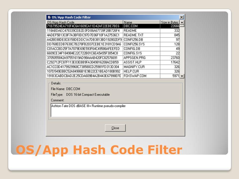OS/App Hash Code Filter