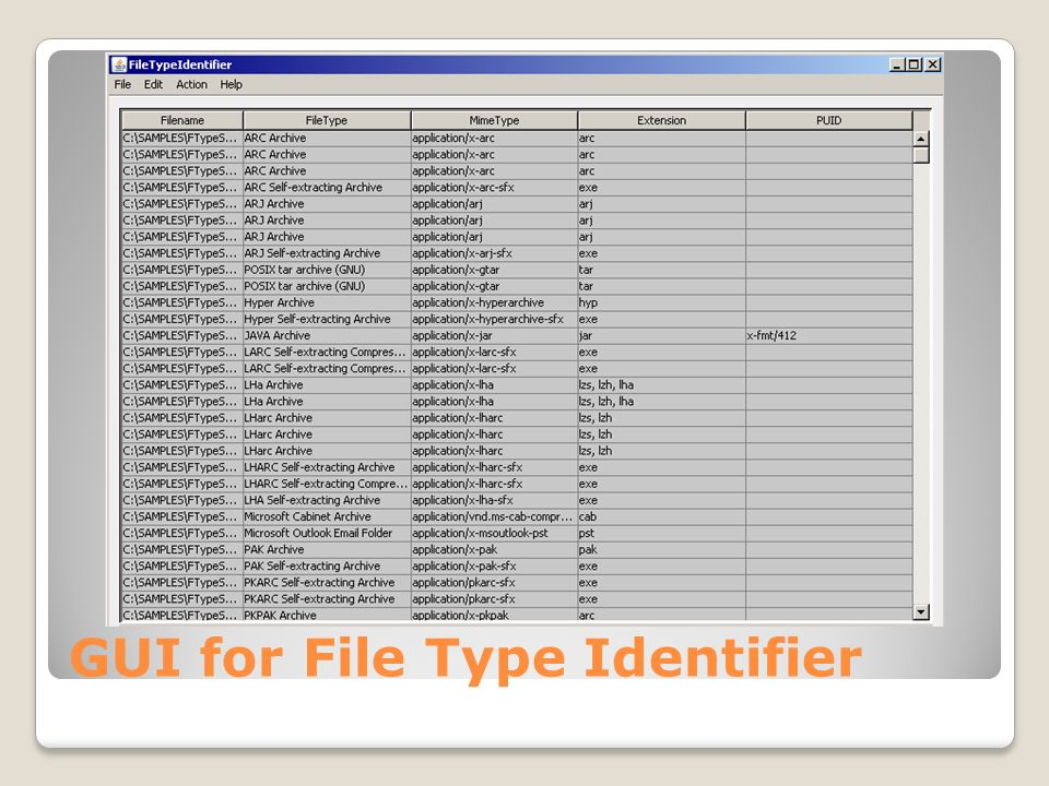 GUI for File Type Identifier