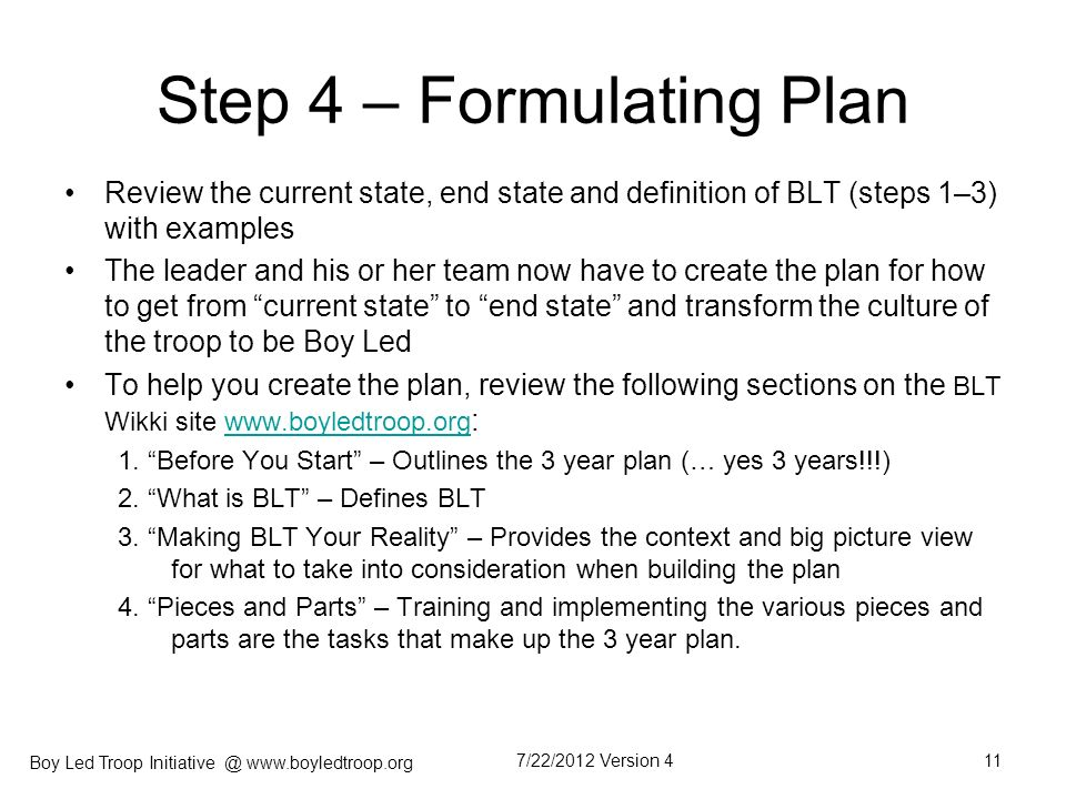 Step 4 – Formulating Plan