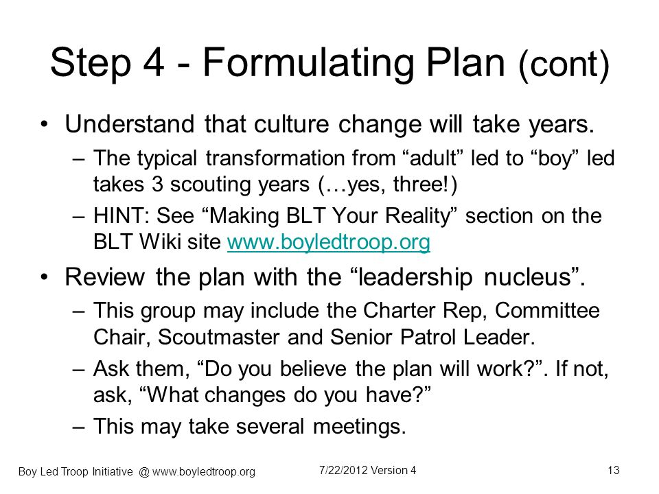 Step 4 - Formulating Plan (cont)