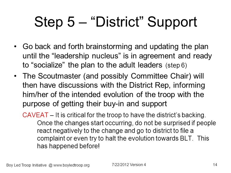 Step 5 – District Support