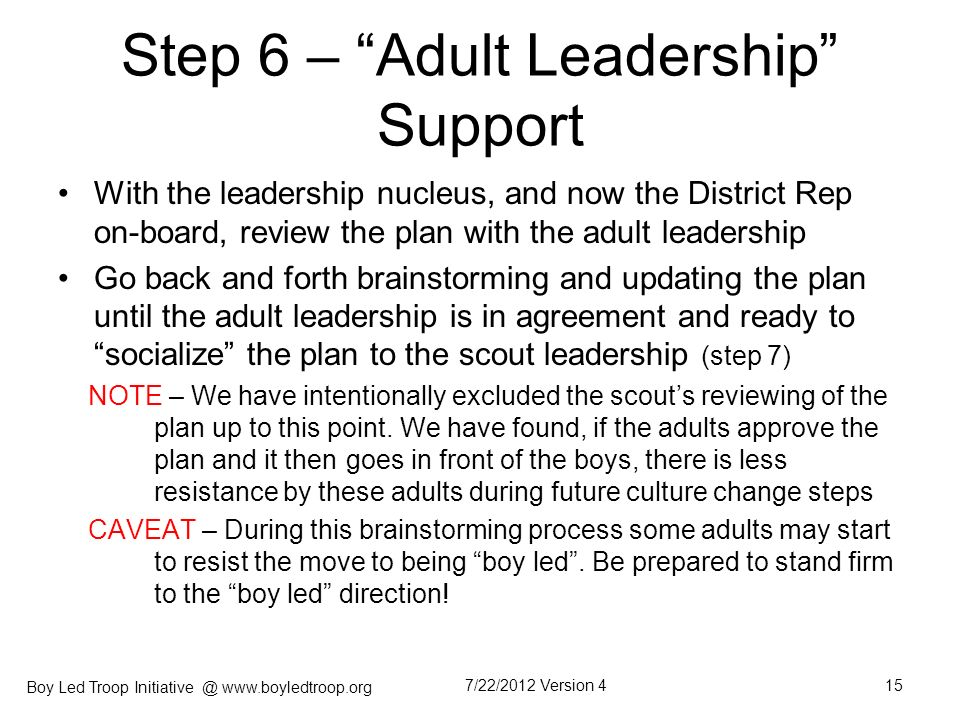 Step 6 – Adult Leadership Support