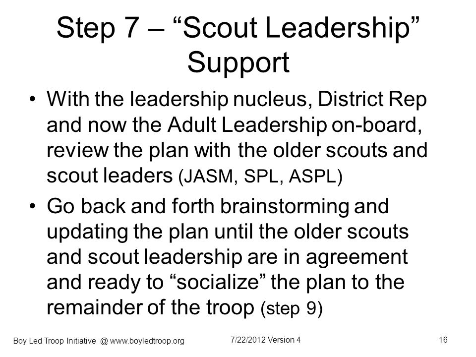 Step 7 – Scout Leadership Support