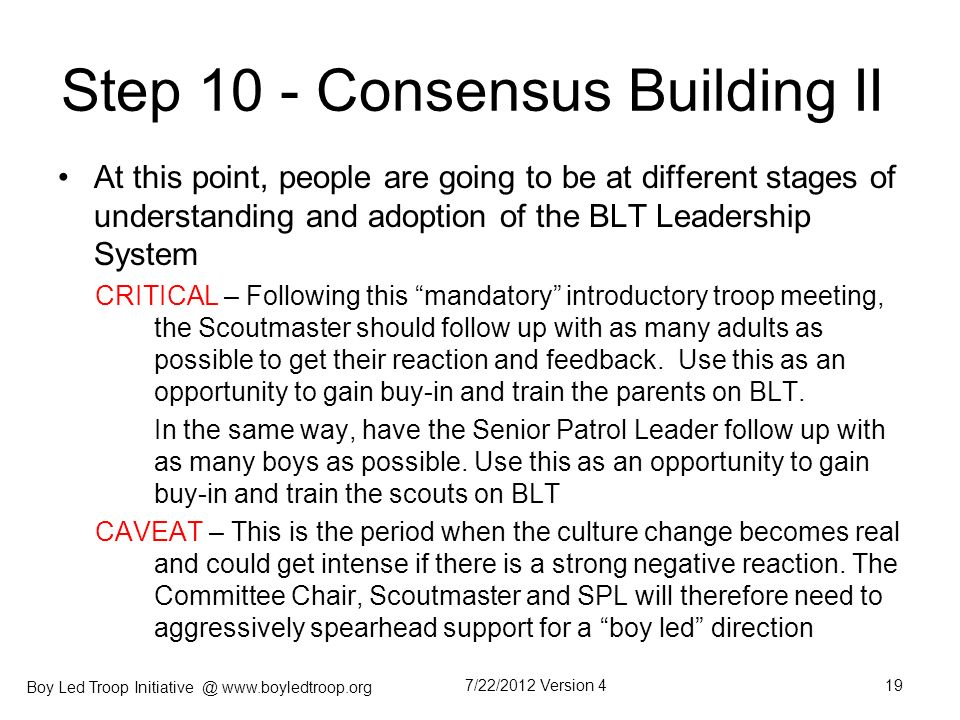 Step 10 - Consensus Building II