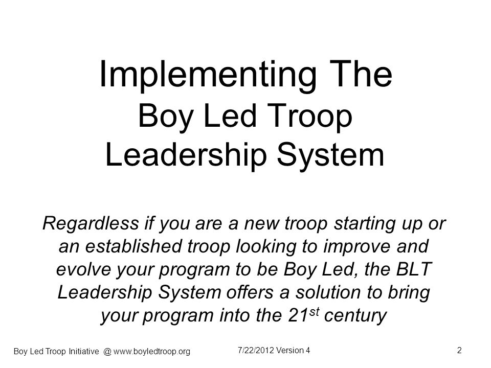 Implementing The Boy Led Troop Leadership System