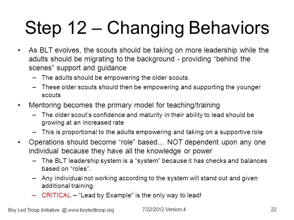 Step 12 – Changing Behaviors