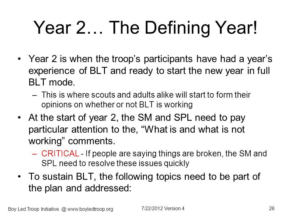 Year 2… The Defining Year!