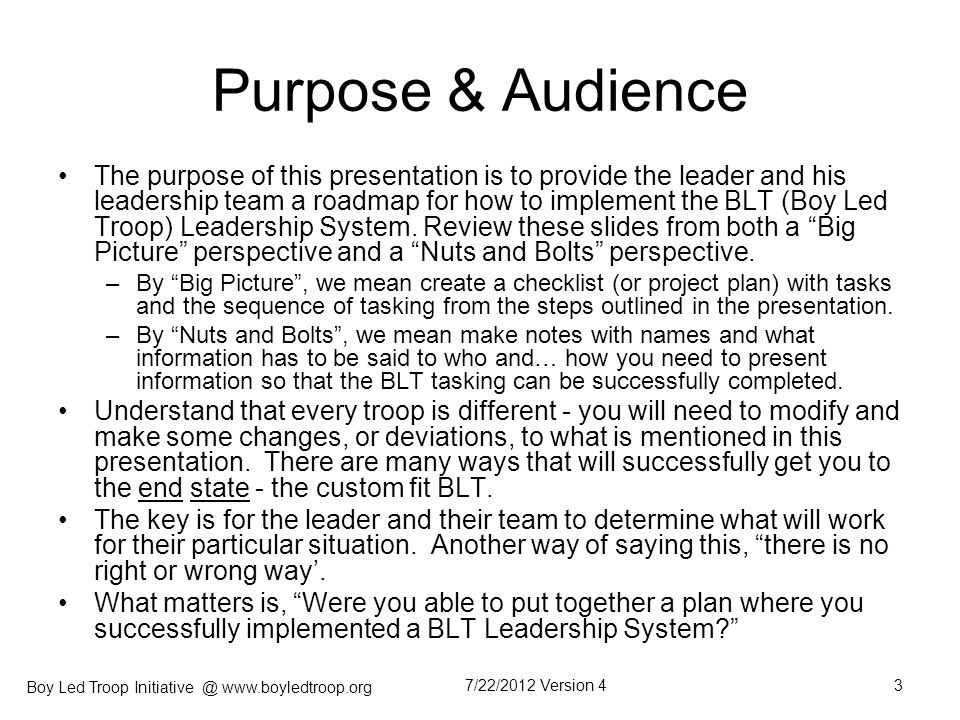 Purpose & Audience