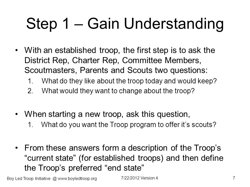 Step 1 – Gain Understanding