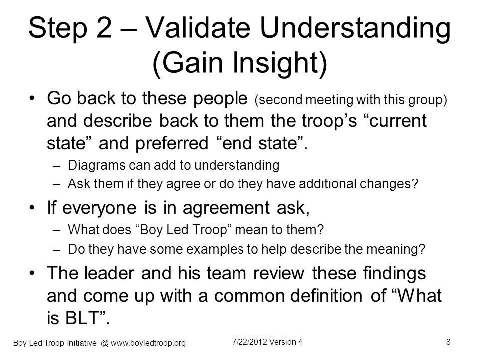 Step 2 – Validate Understanding (Gain Insight)