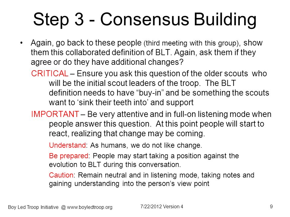 Step 3 - Consensus Building