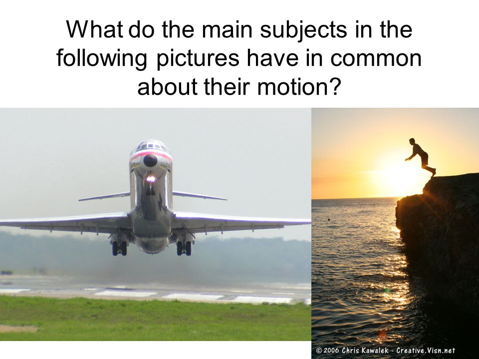 What do the main subjects in the following pictures have in common about their motion