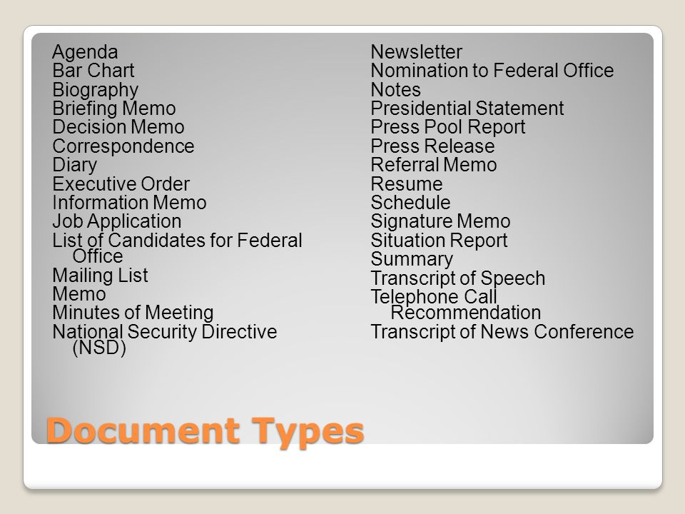 Document Types Agenda Bar Chart Biography Briefing Memo Decision Memo