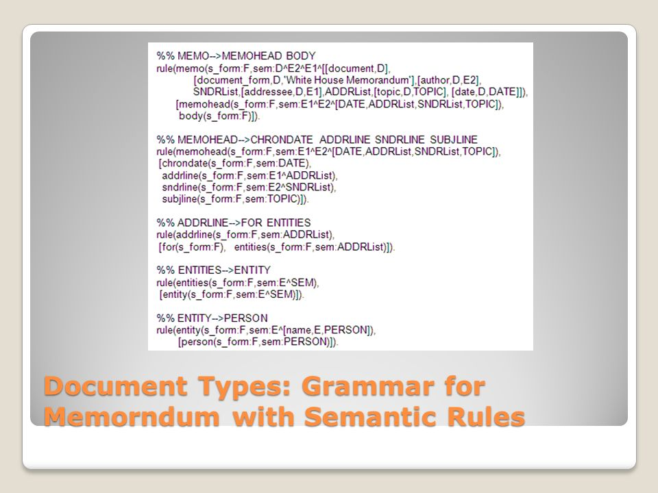 Document Types: Grammar for Memorndum with Semantic Rules
