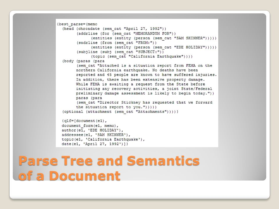 Parse Tree and Semantics of a Document