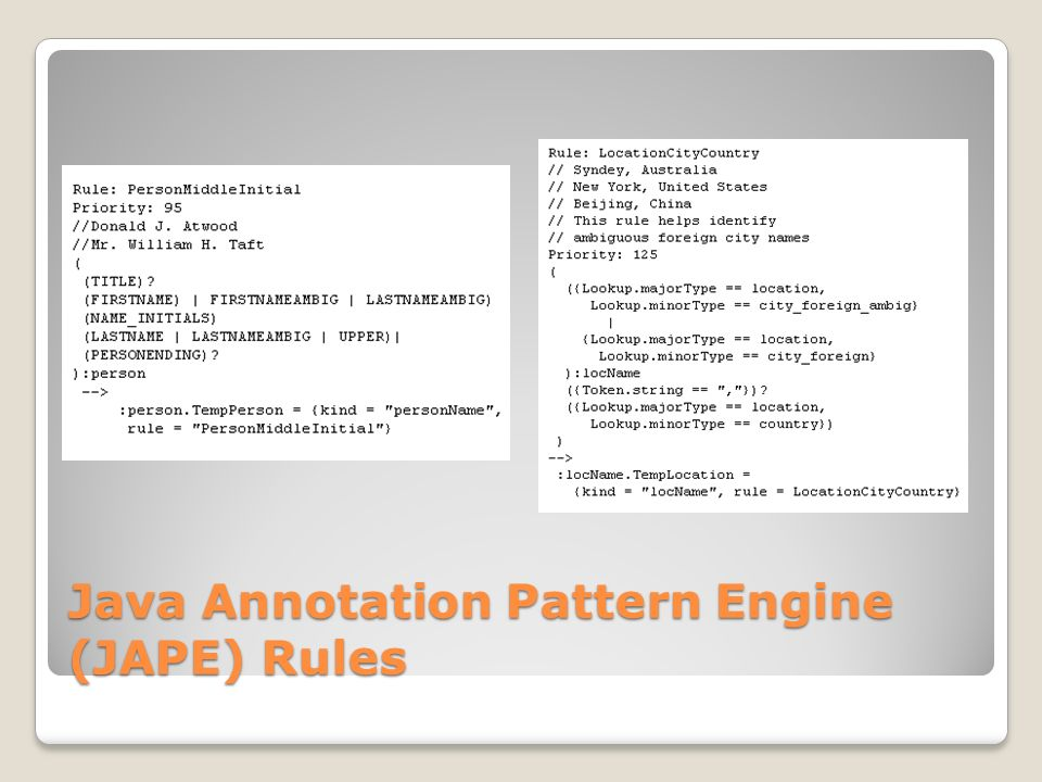 Java Annotation Pattern Engine (JAPE) Rules