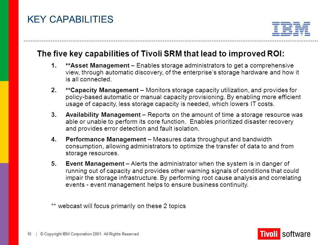 KEY CAPABILITIES The five key capabilities of Tivoli SRM that lead to improved ROI: