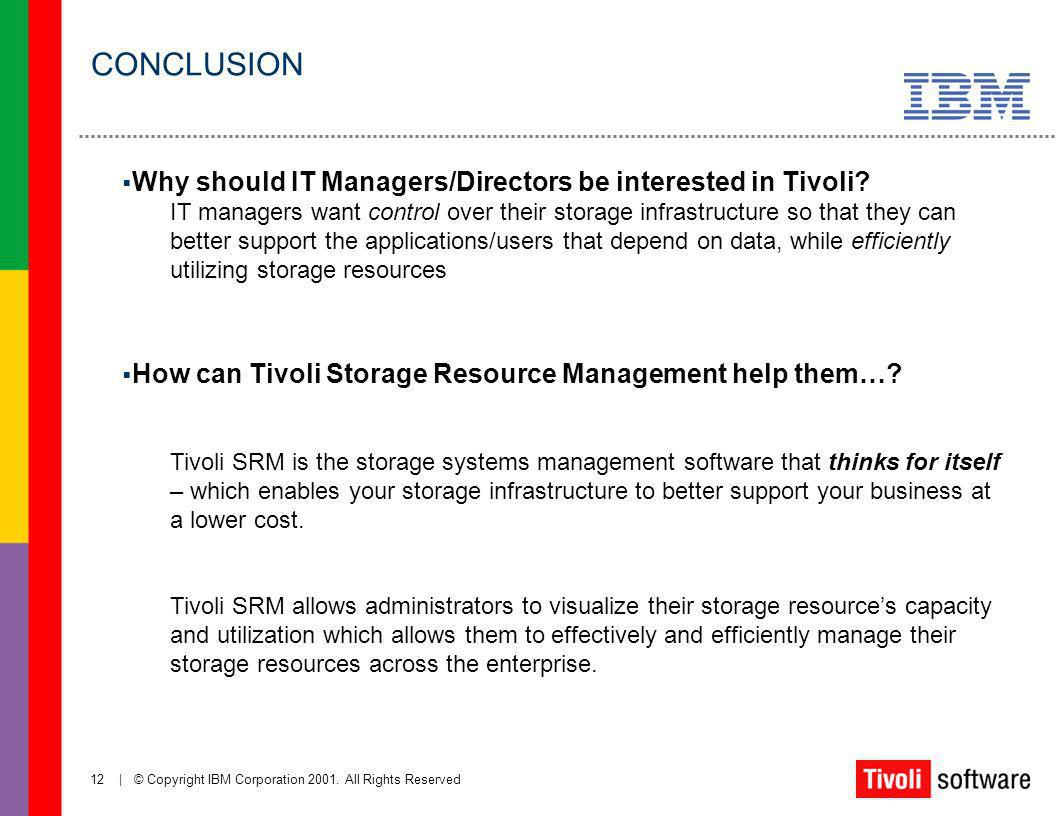CONCLUSION Why should IT Managers/Directors be interested in Tivoli