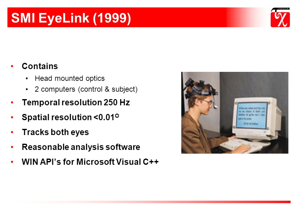 SMI EyeLink (1999) Contains Temporal resolution 250 Hz