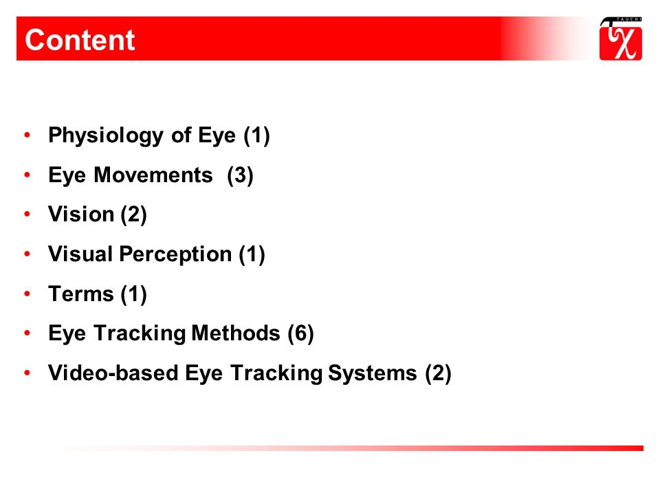 Content Physiology of Eye (1) Eye Movements (3) Vision (2)