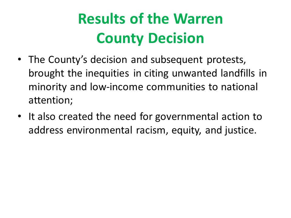 Results of the Warren County Decision