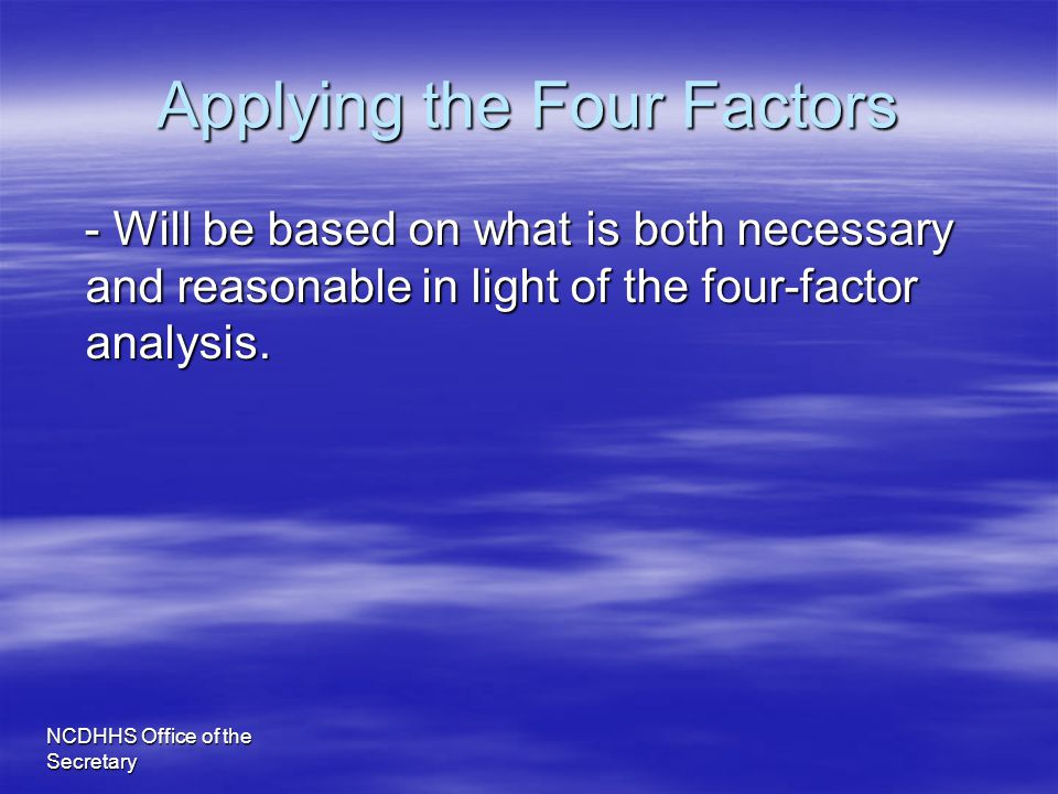 Applying the Four Factors