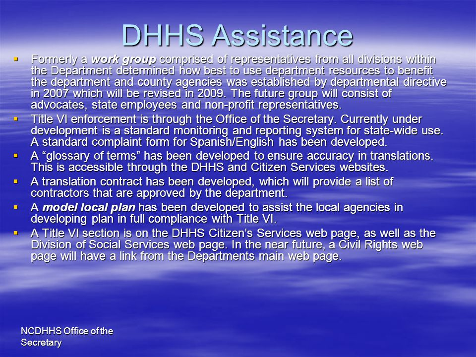 DHHS Assistance