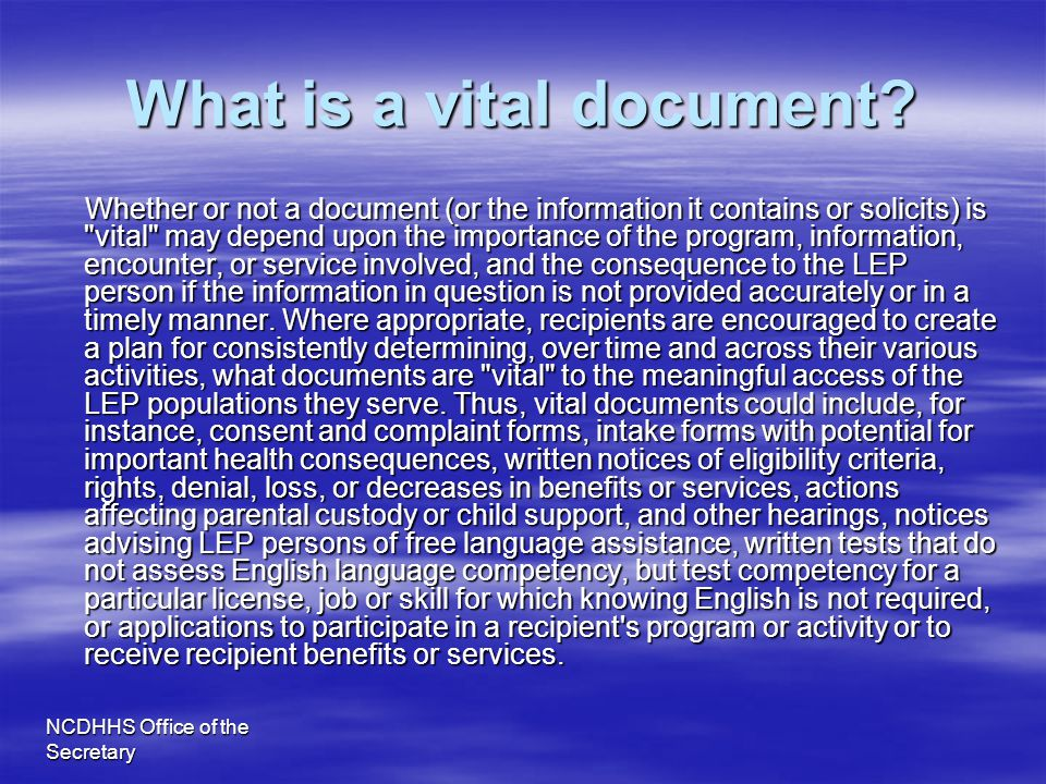 What is a vital document