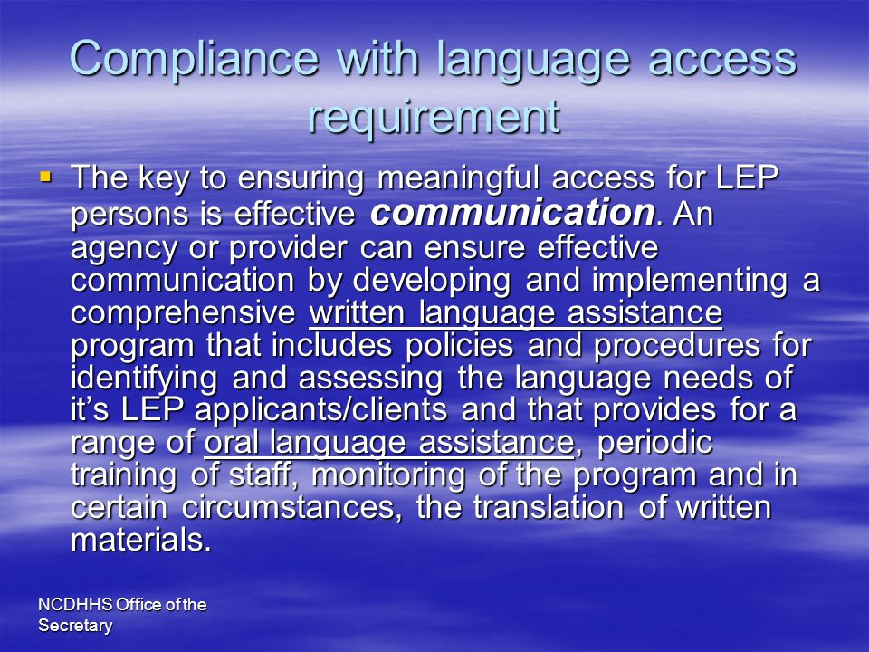 Compliance with language access requirement