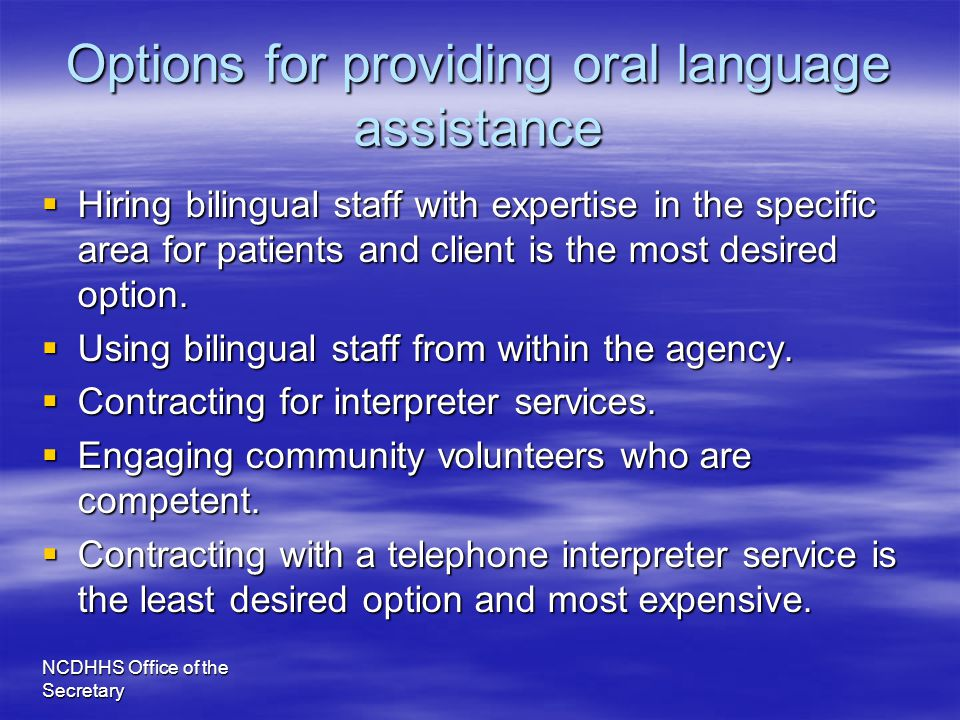 Options for providing oral language assistance