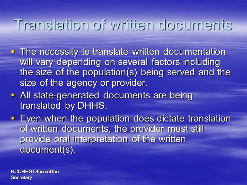 Translation of written documents