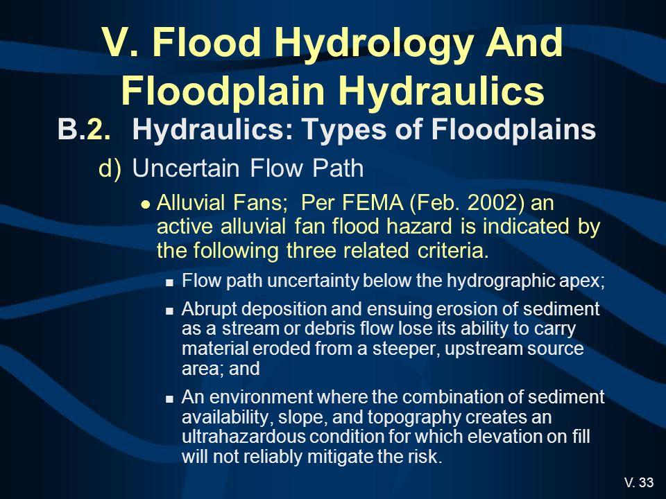 V. Flood Hydrology And Floodplain Hydraulics