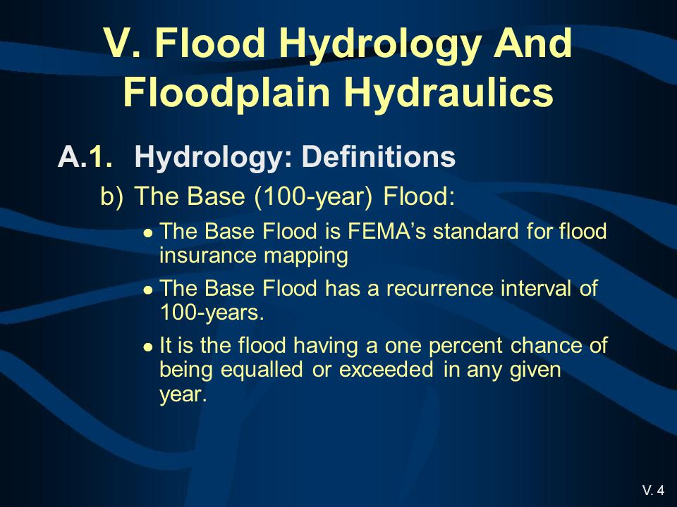 V. Flood Hydrology And Floodplain Hydraulics