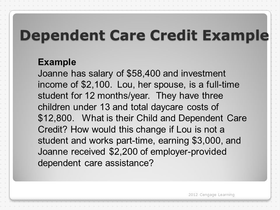 Dependent Care Credit Example