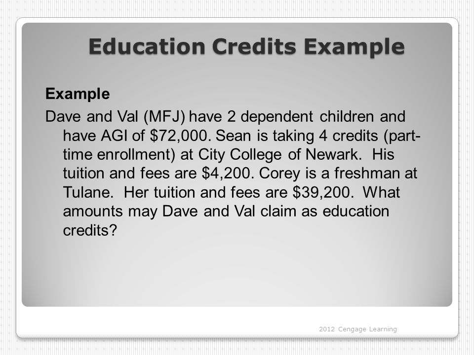 Education Credits Example