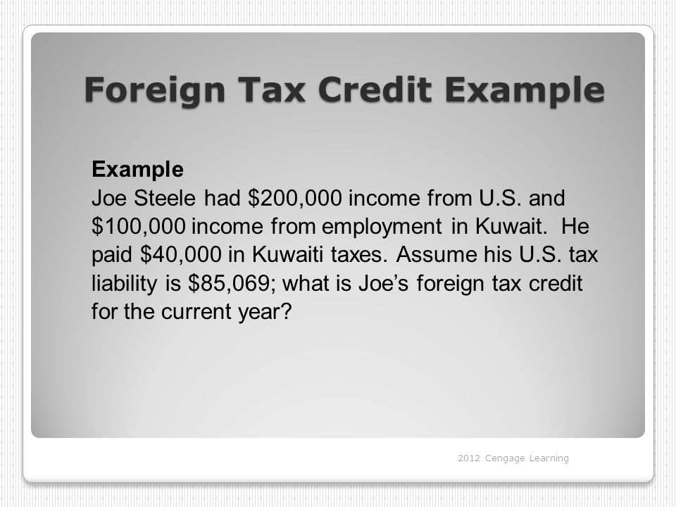 Foreign Tax Credit Example