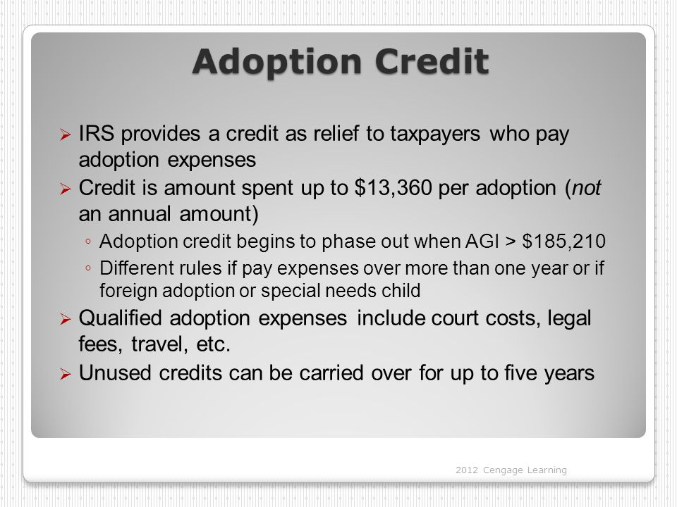 Adoption Credit IRS provides a credit as relief to taxpayers who pay adoption expenses.