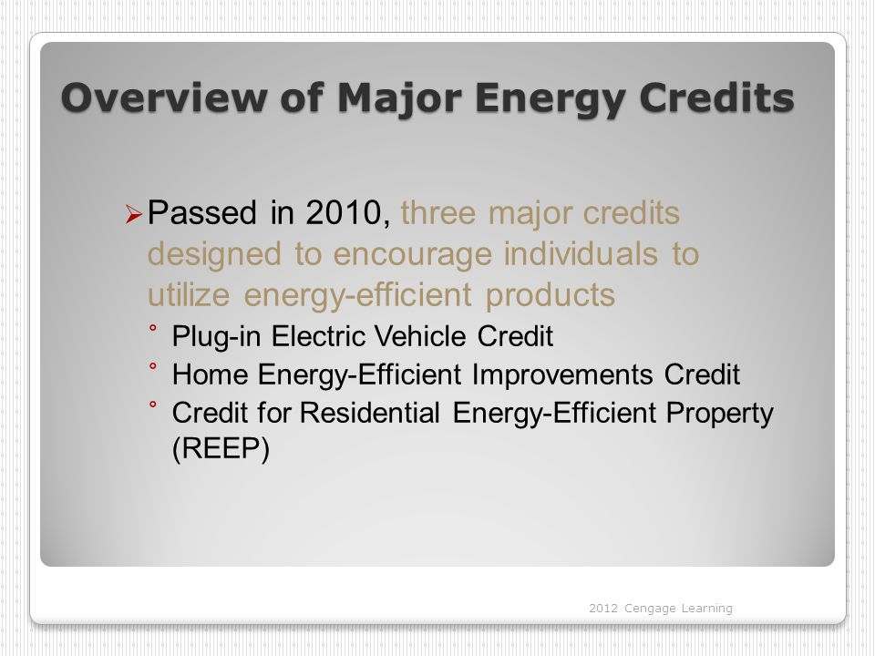 Overview of Major Energy Credits