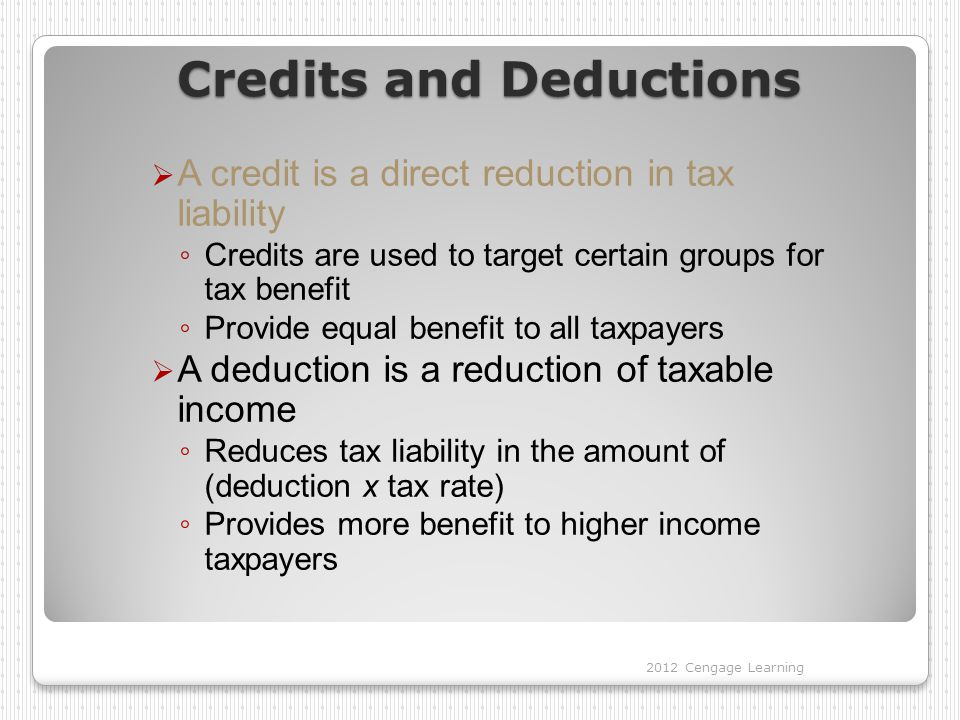 Credits and Deductions
