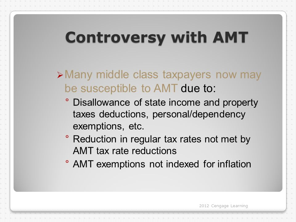 Controversy with AMT Many middle class taxpayers now may be susceptible to AMT due to: