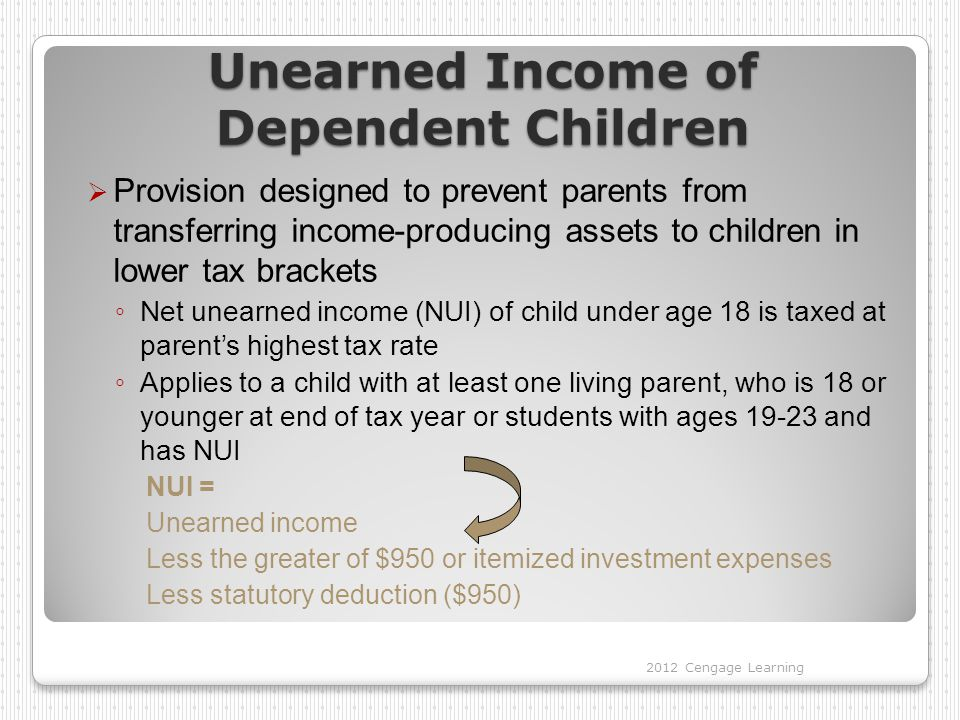 Unearned Income of Dependent Children