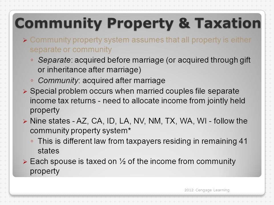 Community Property & Taxation